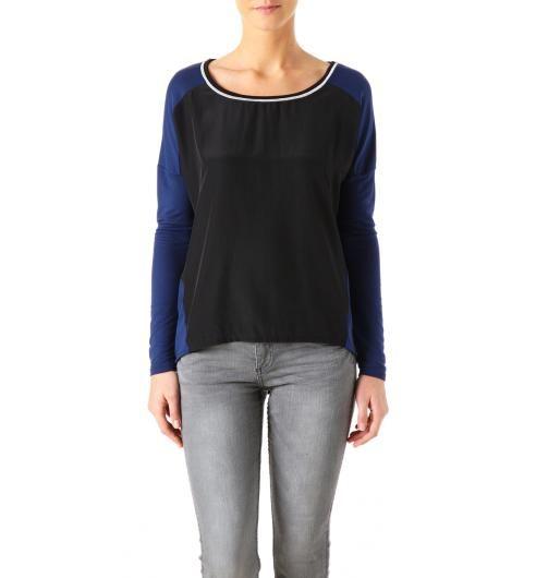 Pour Charlotte  Taille L PROMOD http://www.promod.fr/femme/tops---t-shirts/tops-manches-longues/t-shirt-bi-matiere-femme-bleu-de-chine-R1250246810.html