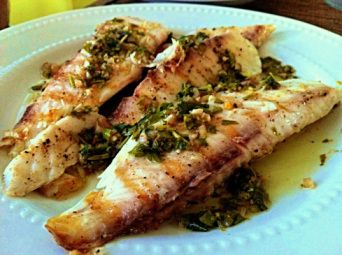 garlic tilapia recipe--this is probably our unhealthiest tilapia recipe but it's good!  probably don't need the parsley though
