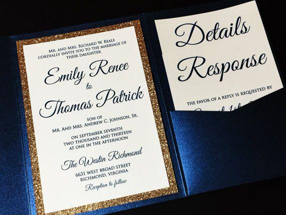 Gold Glitter Wedding Invitation Luxury Pocketfold Elegant Formal