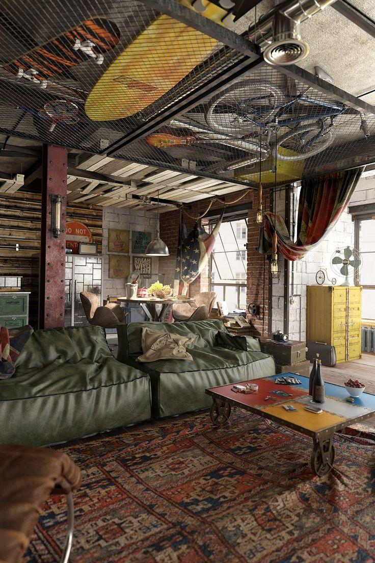 design industriale con divani in pelle verdi