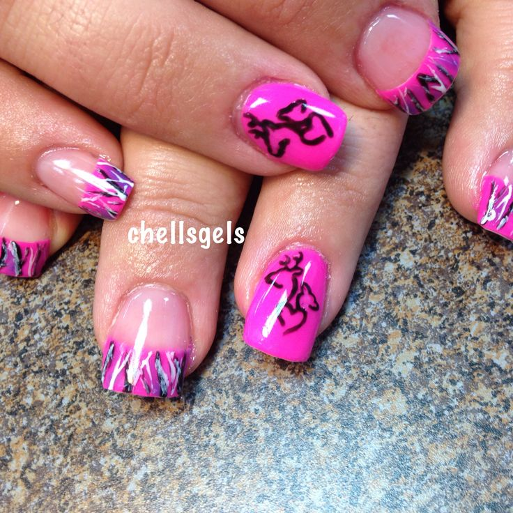 Muddy girl pink camo French tip nails with browning symbol deer antler nail art