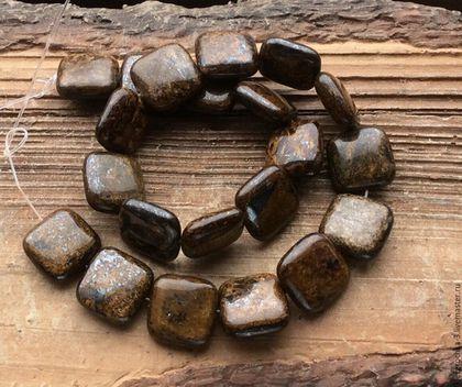 Бронзит квадрат 14 мм гладкие бусины камни для украшений. Handmade.