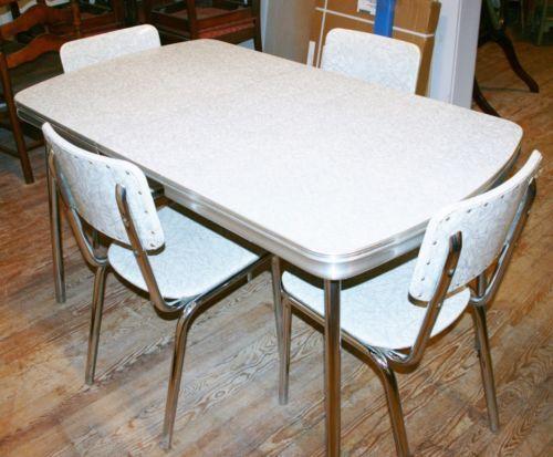 Vintage 1950s Kitchen Dinette Set Table 4 Chair Silver Gray Formica Chrome  Retro