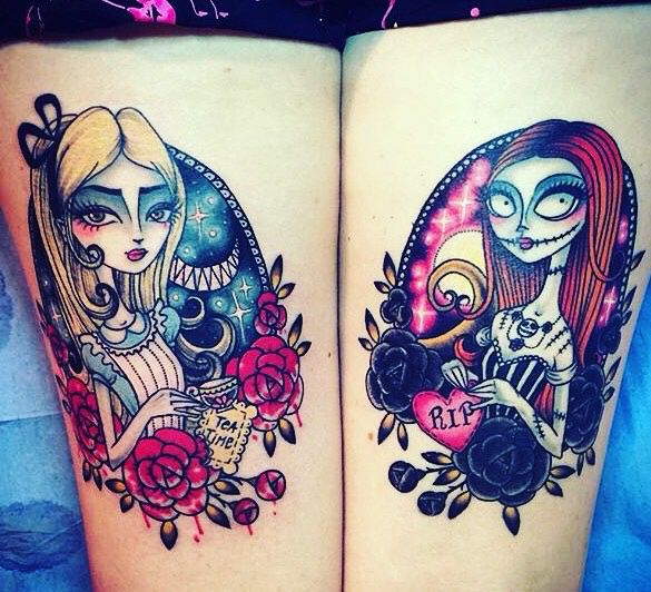 Alice in Wonderland & Sally from Nightmare before Christmas ❤️ My tattoos - Sour and Sweet tattoo ❤️ Back thighs