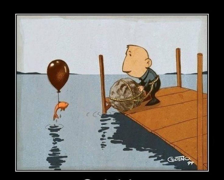 dark humor fish suicide helium balloon - love it! hehehe ...