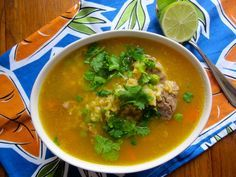 Sopa de Arroz con Espinazo de Cerdo (Rice and Pork Soup)-Colombia- I'd reduce the water by a cup, and make the rice/serve it separate on the side