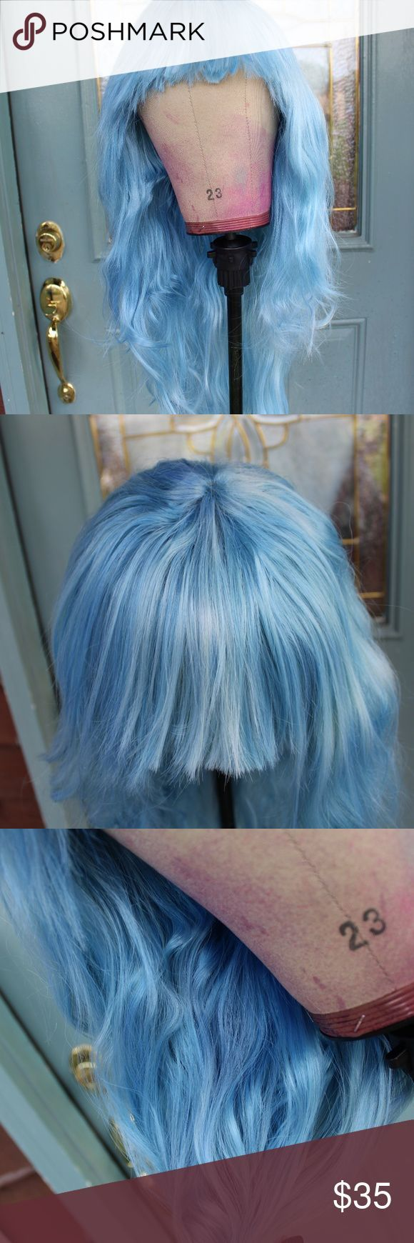 New [Custom Dyed] Wavy blue wig w/ bangs New, never worn Custom dyed synthetic w…   – Dyed Hairstyles