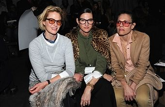 Sunrise Coigney, Jenna Lyons and Courtney Crangi attends the Zero + Maria Cornejo fashion show during New York Fashion Week at Pier 59 on February 13, 2017 in New York City.
