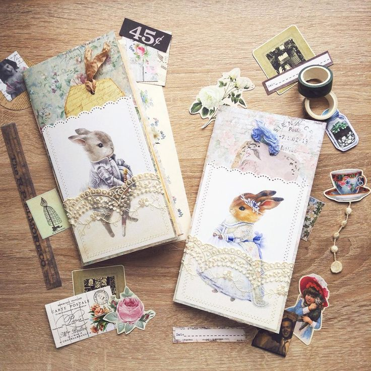 Cute bunny journals for Travelers Notebook , for journaling , tea dyed paper , botanical  book pages  @teaforcamellia