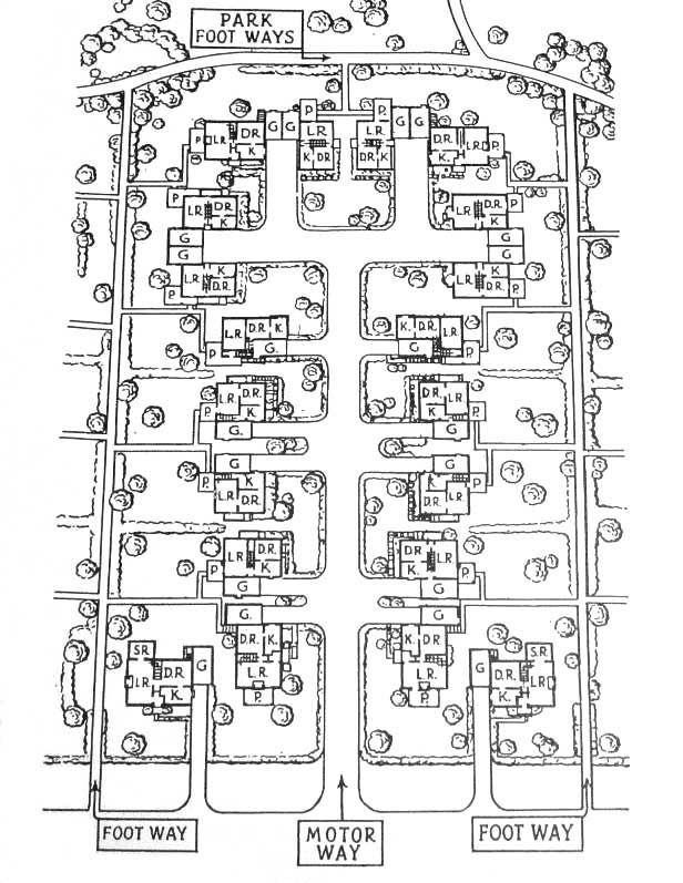Radburn 1920 development. Focus on footpath but unfortunately introduced the superblock and cul-de-sacs.