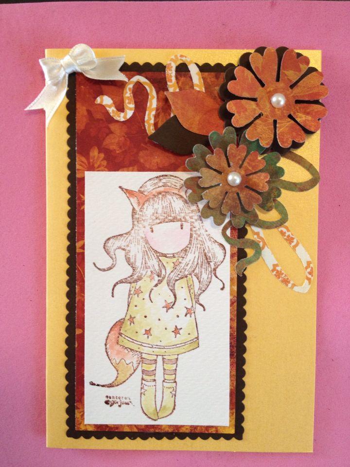 Card ragazza. Con fiori 3D
