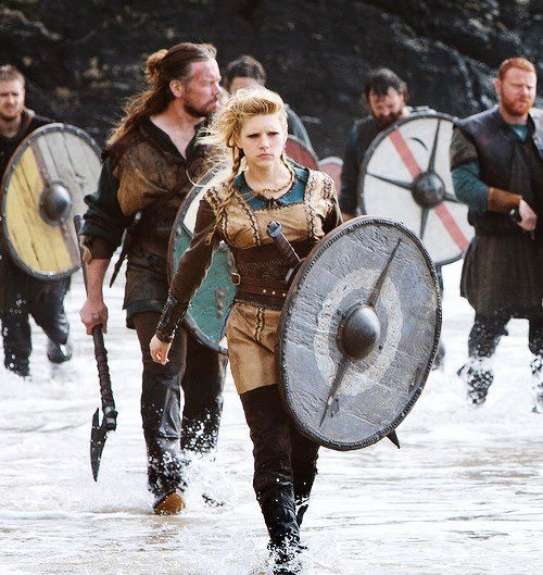"""This picture is from the TV show 'Vikings', but it's based on history: The """"Shieldmaiden"""" was a woman who had chosen to fight as a warrior in Scandinavian folklore and mythology. They are often mentioned in sagas such as the 'Hervarar' saga and in 'Gesta Danorum'. Shieldmaidens also appear in stories of other Germanic nations: Goths, Cimbri, and Marcomanni. The mythical Valkyries may have been based on the shieldmaidens."""