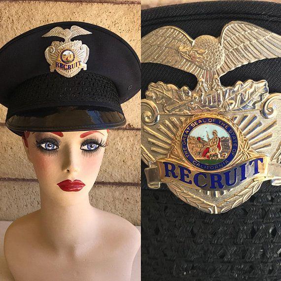 1960 S Vintage Police Hat California Police Recruit Hat Etsy Police Hat 1960s Vintage Hats