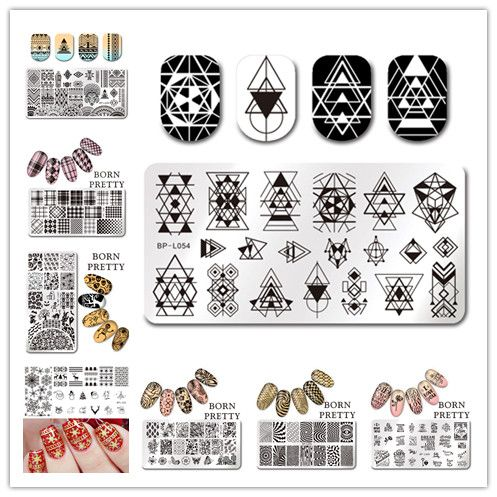 1 Pc Born Pretty Rectangle Nail Stamping Plate Nail Art Stamping Image Plate BP-L Cute Design Nail Stamp Template 17 Patterns