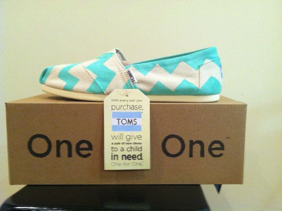 Natural Canvas TOMS w/ Teal Chevron Design by freckandme on Etsy