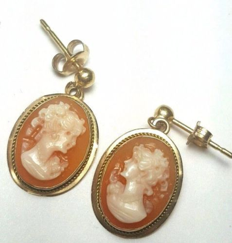 ANTIQUE-14k-yellow-gold-dangle-cameo-earrings-oval