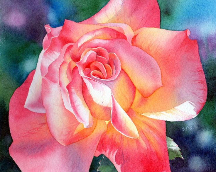 Barbara Fox, rose watercolor tutorial