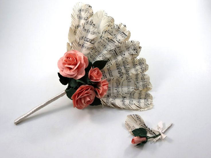 Wedding Sheet Music Feather Fan Bouquet with Pink Salmon Roses by CeeBeeRecycle on Etsy