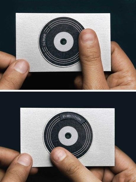 Similarly to the gym instructors business card, I liked the connotations of using a spinning disk to represent the business owner as a DJ.