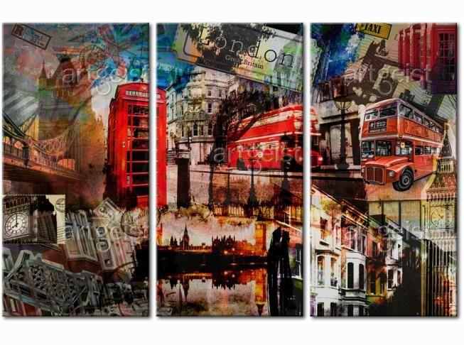 Tryptyk na którym widać londyńskiego ducha - idealny przepis dla miłośników angielskiego ducha. #obrazy #recznie #malowane #tryptyki #dekoracje #ścienne #sztuka #malarstwo #wnętrza