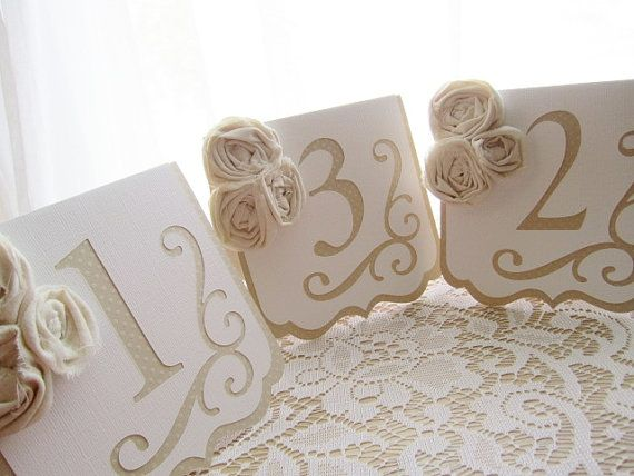 """Freestanding Wedding Table Numbers - Flourish"""" in Ivory and White w/ Ivory Rosettes- Choose Your Colors on Etsy, $7.00"""