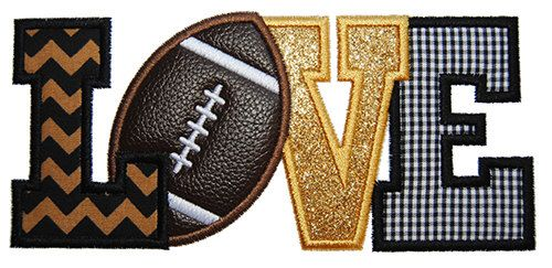 Football Love 2 Applique Design For Machine Embroidery INSTANT DOWNLOAD now available by TheItch2Stitch on Etsy https://www.etsy.com/listing/199032322/football-love-2-applique-design-for