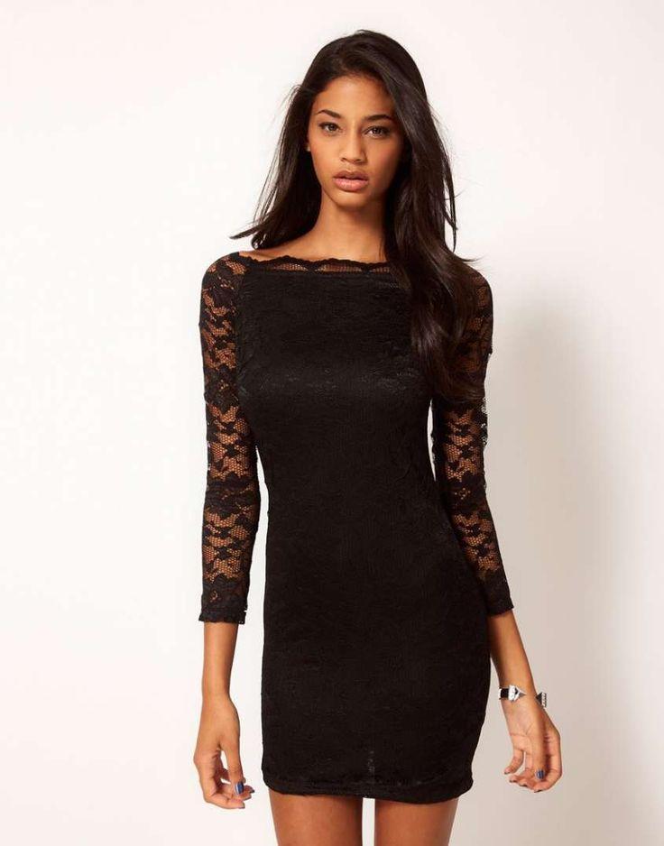 Trucco con vestito nero pizzo