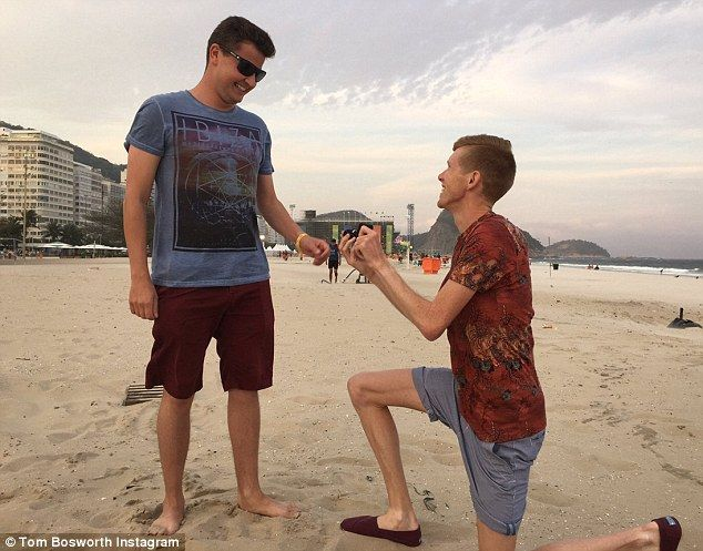 Olympic Racewalker Tom Bosworth popped the question to his longterm partner Harry Dineley on Copacabana beach
