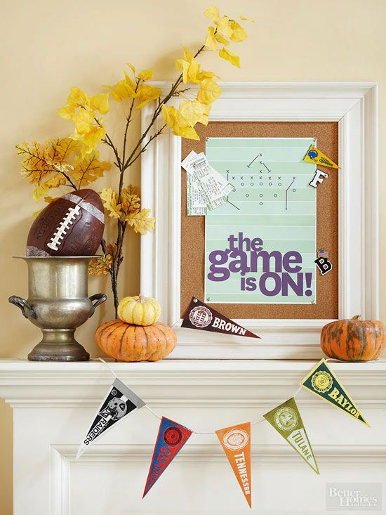 Football party decorations - mini pennant bunting banner