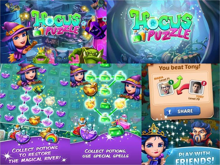 """Hocus Puzzle Boil, bubble, toil, puzzle!  In Hocus Puzzle the witches bring the puzzles to life! Collect potions, cast spells and discover how to defeat the evil that's drained the river dry.  RESTORE THE RIVER'S MAGIC FLOW! • Collect and match potions to increase your witch's power. •Power-up with enhanced potions to defeat the evil. •Focus on longer paths to collect """"special"""" potions. •Help defeat the dark spell that's caused the magical river to run dry."""