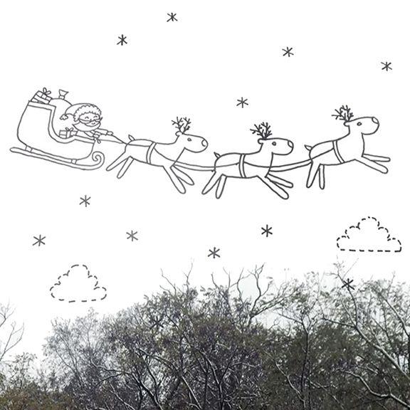 Kerstman slee raamtekening