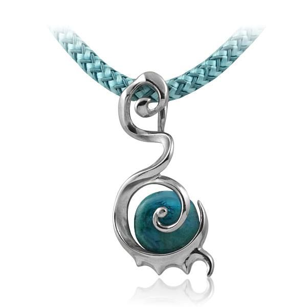 Enigma dragon colier aqua Mystic shaped colier with pendant made out of 925 Sterling silver and murano glass. This uniquely designed Diuss piece of art fine jewel will emphasize your seductress side by giving you a hint of magic style. Have a thousand faces or have any style, but never forget to be a lady on the charm.