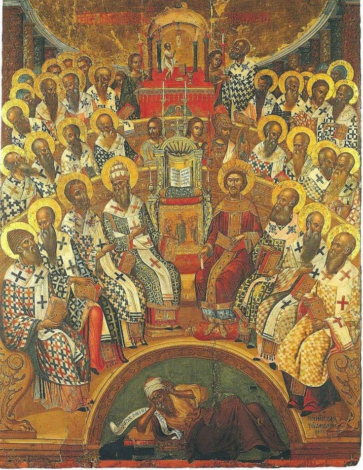 The First Ecumenical Council of Nicaea. 1591. Another masterpiece by Michael Damaskenos. St Catherine of the Sinaites, Herakleio, Greece.