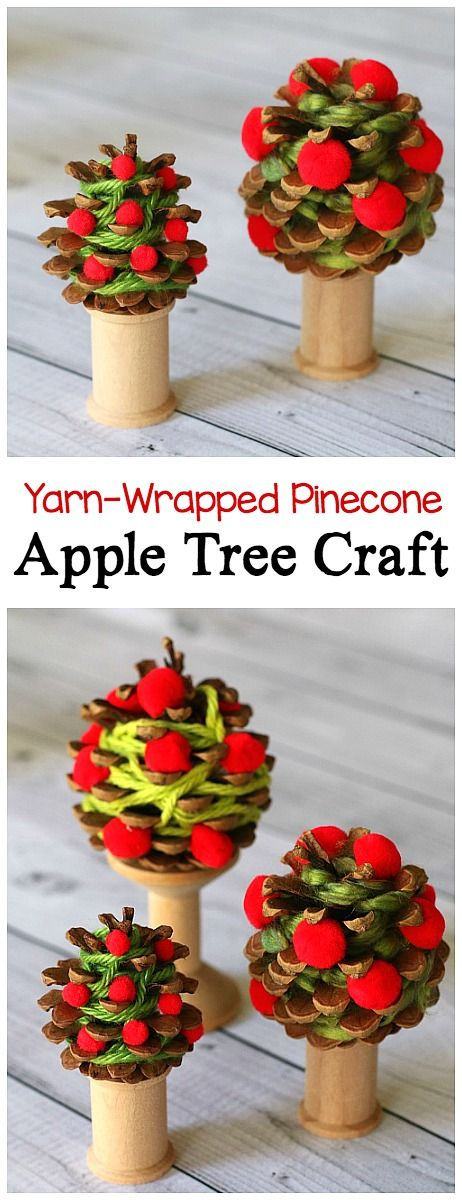 Yarn-Wrapped Pinecone Apple Tree Craft for Kid: Children create unique apple trees using yarn, pompoms, and pinecones! Great way to practice fine motor skills and goes well with units on seasons, fall, or autumn. Perfect for preschool, kindergarten, and first grades! ~ BuggyandBuddy.com