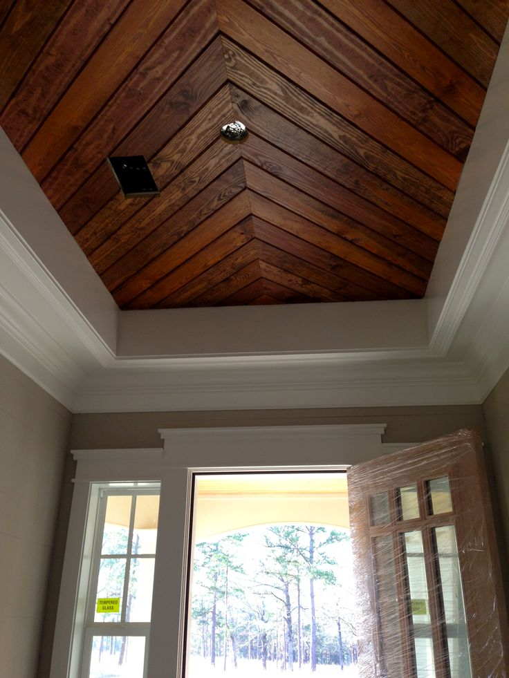 Foyer penny width pine paneling tongue groove ceiling Shiplap tray ceiling