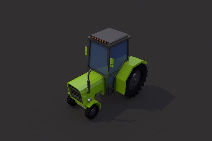 Low Poly Tractor by CreativeeArt on @creativemarket