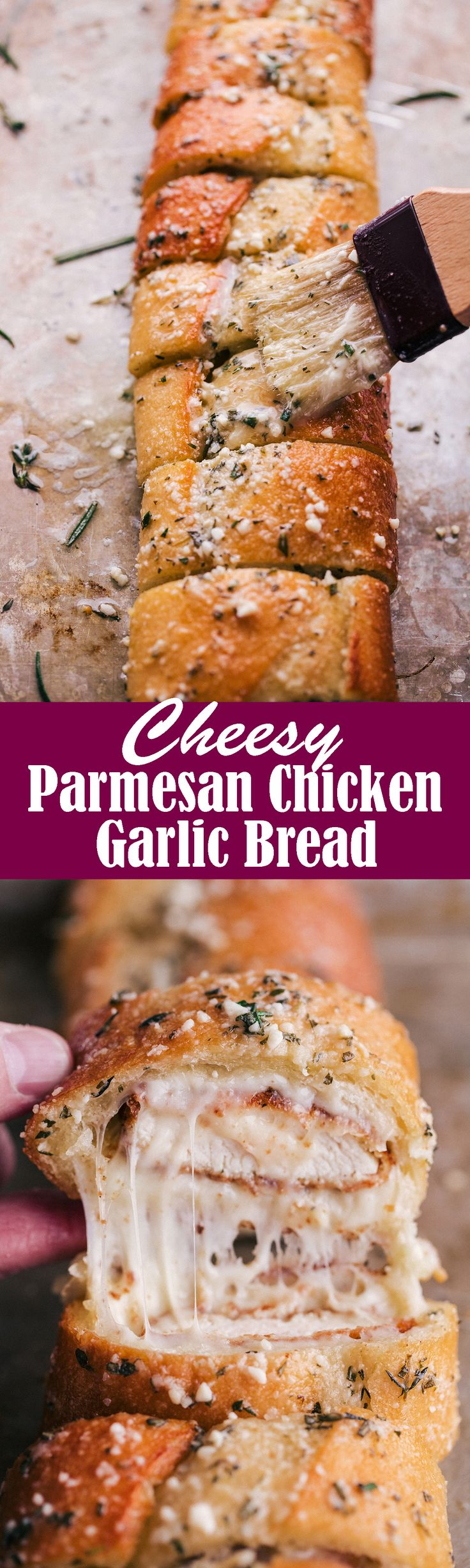 Cheesy Parmesan Chicken Garlic Bread
