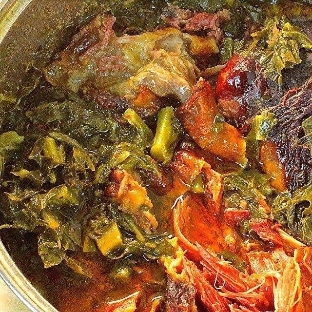 SUNDAY DINNER-Spicy braised collard greens with smoked turkey. At ...