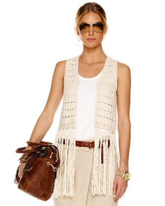 Michael Kors crochet vest with fringe