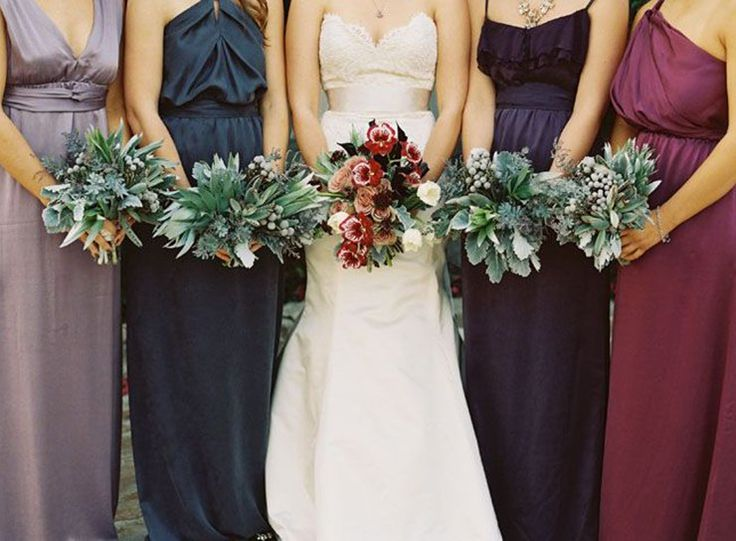 Mismatched Bridesmaid Dresses: The Modern Way To Make Your Wedding Party Stand Out - stick to a theme—like jewel tones, pastels, autumnal hues or brights—to make sure your bridal party still looks cohesive.