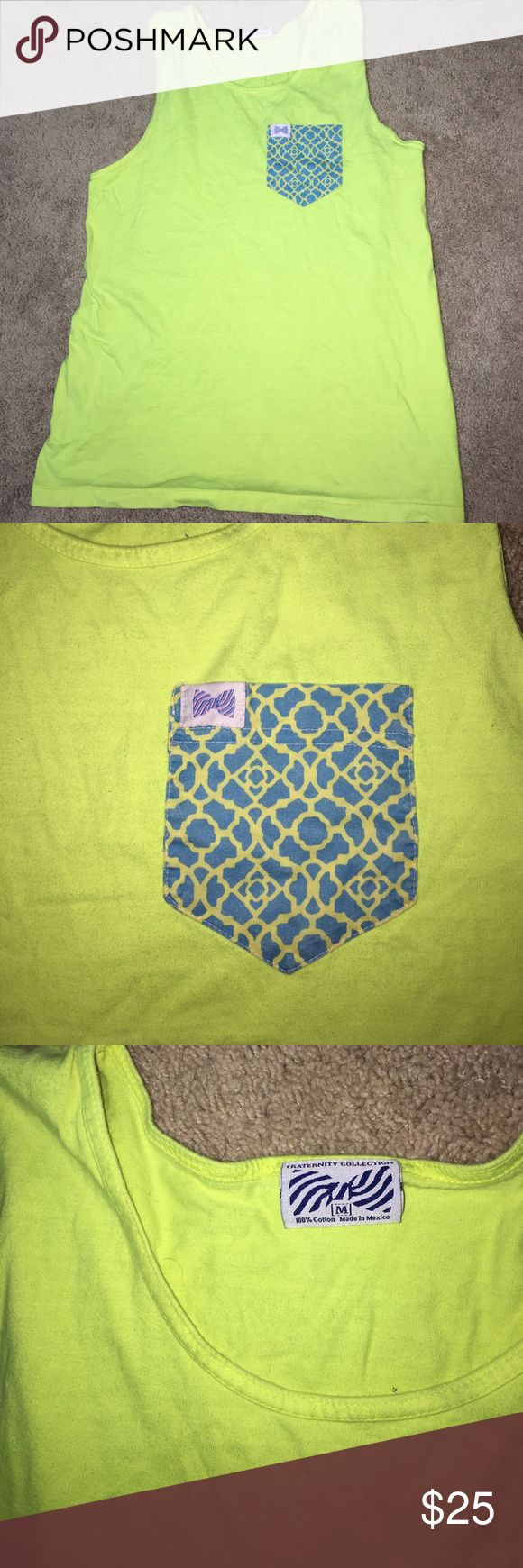 Bright Neon Fraternity Shirt(: Perfect condition! No stains,holes or wear! Worn once! Super cute just don't like it on me. Size medium but will do great on smalls too (: Vineyard Vines Tops Tank Tops