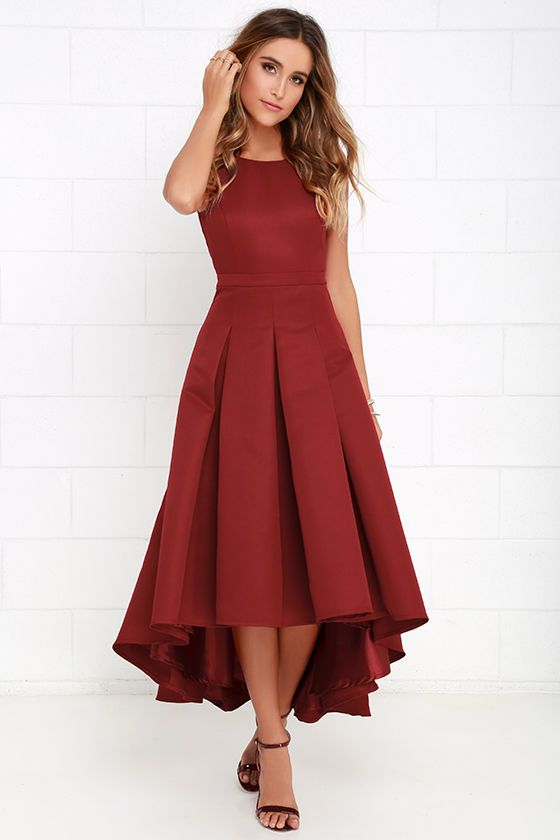 Paso Doble Take Wine Red High-Low Dress at Lulus.com!
