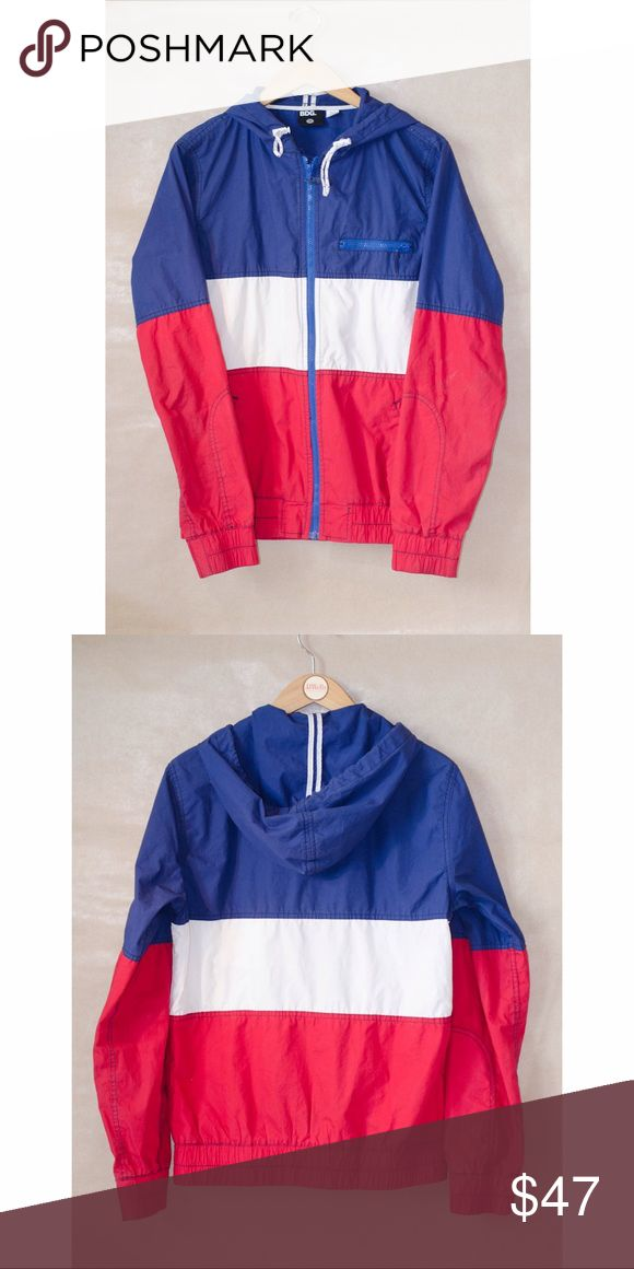 Bdg 🇺🇸 jacket Light water resistant coat, with red, white, and blue color blocking. Stitching detail on sleeve. Hood with white toes. Zipper pockets on front. Great condition. Looks awesome over high waisted shorts! Men's small/women's medium. BDG Jackets & Coats