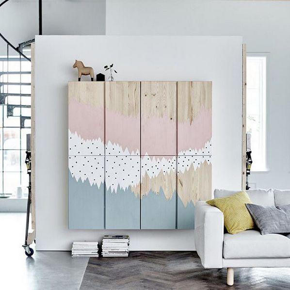 Painted IKEA Ivar cabinets