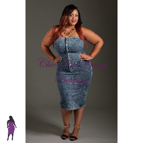 New Plus Size Bodycon In Denim Strapless Tube Dress
