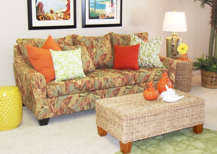 Berkeley Style Queen Sleeper Sofa by Cambridge of California Made in the USA, clean lined with wood legs fits contemporary or transitional room settings. Shown here in tropical print Amazon, Java, it is also available in solid textures and other prints.