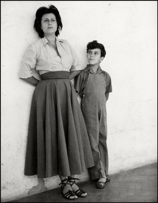 Herbert List: Italian actress Anna MAGNANI with her eight year old son Luca. 1950.