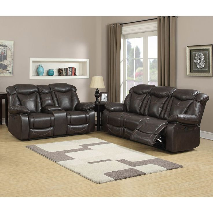 Walter Dark Brown Leather Reclining Sofa and Loveseat (Set of 2) (Dark Brown  sc 1 st  Pinterest : brown leather recliner sofas - islam-shia.org
