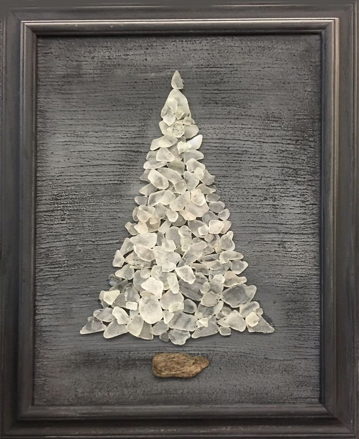 ORIGINAL White Beach Sea Glass Tree 18  x 22 Framed Print ~ Signed