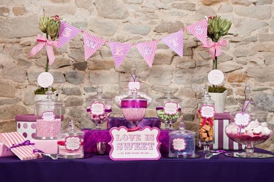 bar-bonbons-bapteme-mariage: Wedding Sweet, Sweet Buffet, Sweet Tables, Wedding Decor, Sweet Treats, Candy Bar, Wedding Candy Buffet, Purple Wedding, Wedding Tables Decor